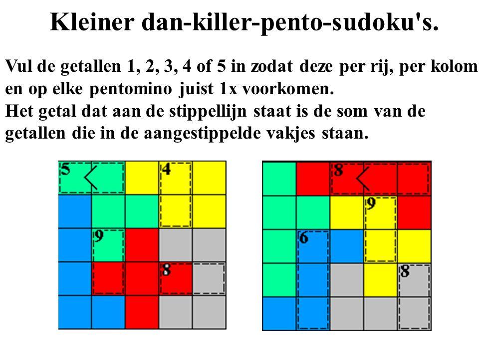 Kleiner dan-killer-pento-sudoku's. Vul de getallen 1, 2, 3, 4 of 5 in zodat deze per rij, per kolom en op elke pentomino juist 1x voorkomen. Het getal