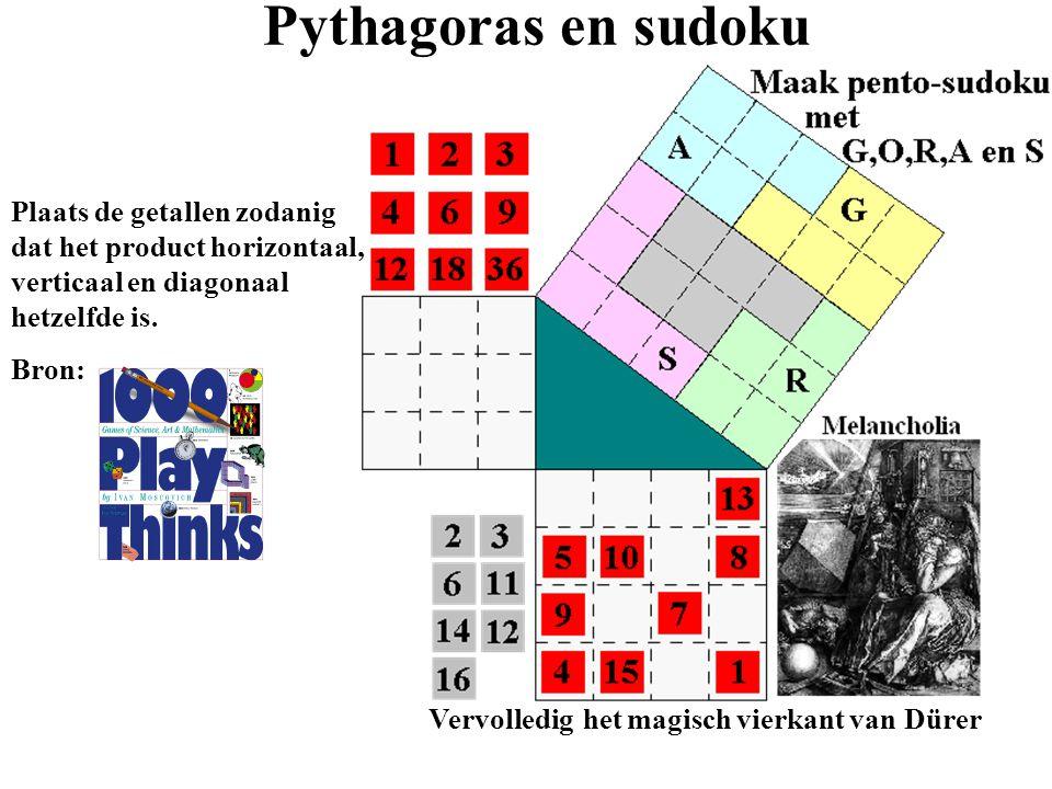 Plaats de getallen zodanig dat het product horizontaal, verticaal en diagonaal hetzelfde is. Bron: Vervolledig het magisch vierkant van Dürer