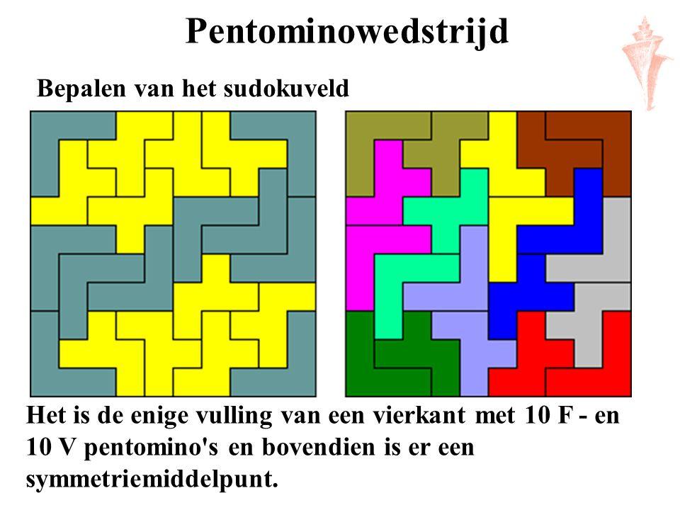 Pentominowedstrijd Het is de enige vulling van een vierkant met 10 F - en 10 V pentomino's en bovendien is er een symmetriemiddelpunt. Bepalen van het