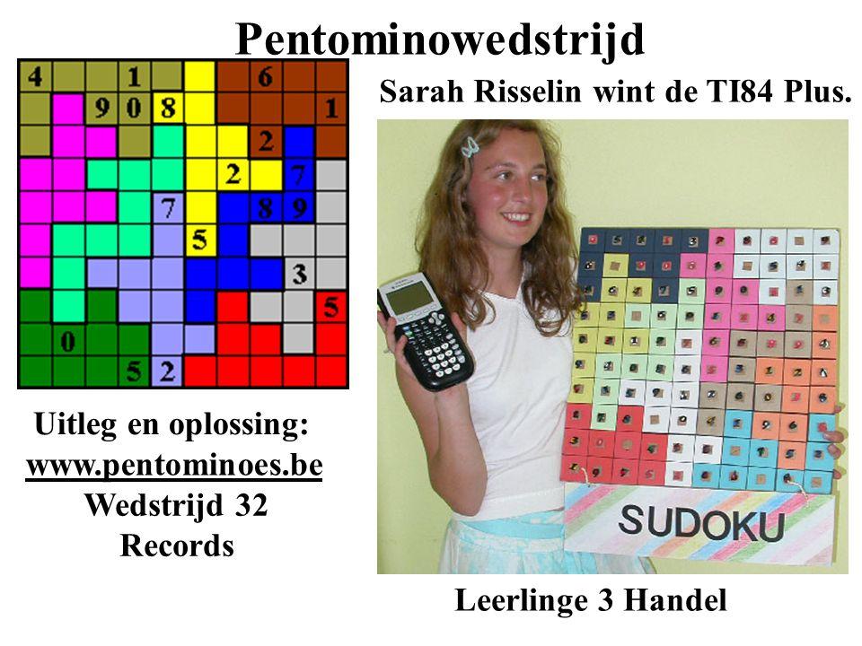 Pentominowedstrijd Sarah Risselin wint de TI84 Plus. Leerlinge 3 Handel Uitleg en oplossing: www.pentominoes.be Wedstrijd 32 Records