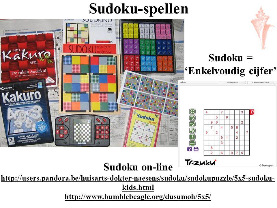 Sudoku-spellen Sudoku on-line http://users.pandora.be/huisarts-dokter-naesens/sudoku/sudokupuzzle/5x5-sudoku- kids.html http://www.bumblebeagle.org/du