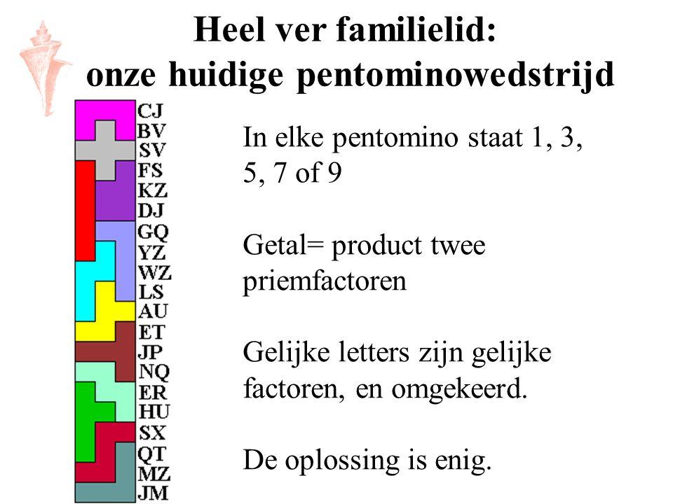 Heel ver familielid: onze huidige pentominowedstrijd In elke pentomino staat 1, 3, 5, 7 of 9 Getal= product twee priemfactoren Gelijke letters zijn ge
