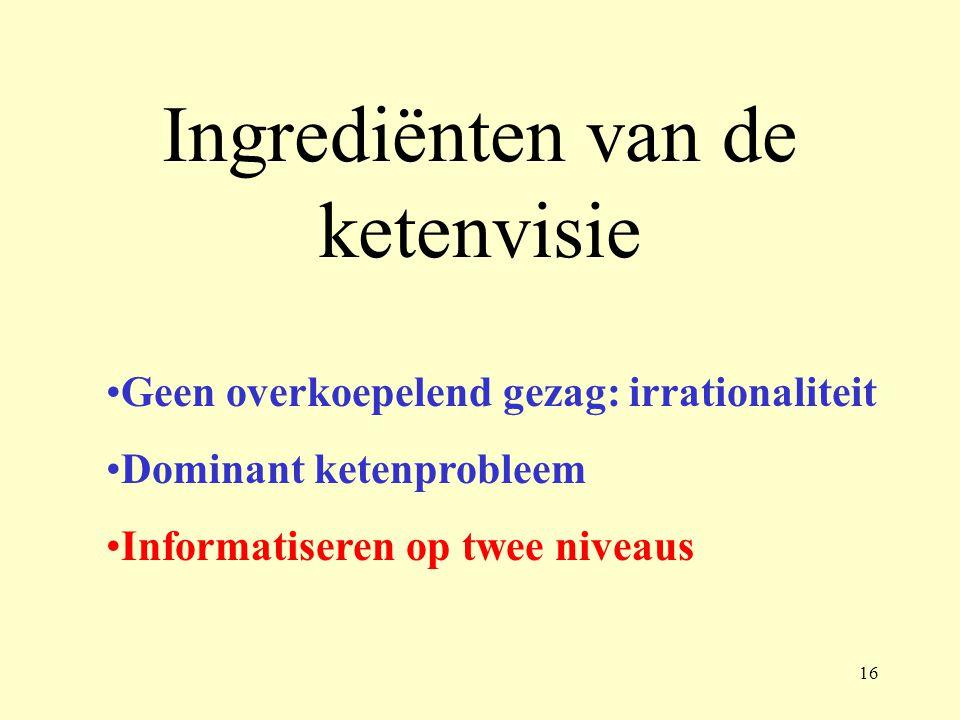 Ingrediënten van de ketenvisie Geen overkoepelend gezag: irrationaliteit Dominant ketenprobleem Informatiseren op twee niveaus 16