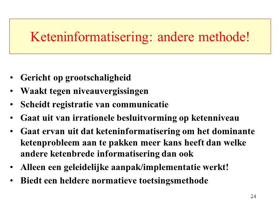 Keteninformatisering: andere methode! Gericht op grootschaligheid Waakt tegen niveauvergissingen Scheidt registratie van communicatie Gaat uit van irr