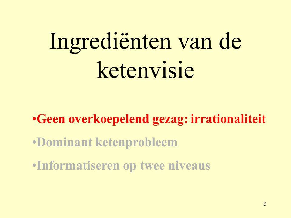 Ingrediënten van de ketenvisie Geen overkoepelend gezag: irrationaliteit Dominant ketenprobleem Informatiseren op twee niveaus 8