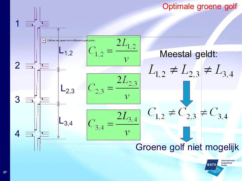 27 Optimale groene golf L 1,2 1 4 3 2 L 3,4 L 2,3 Meestal geldt: Groene golf niet mogelijk