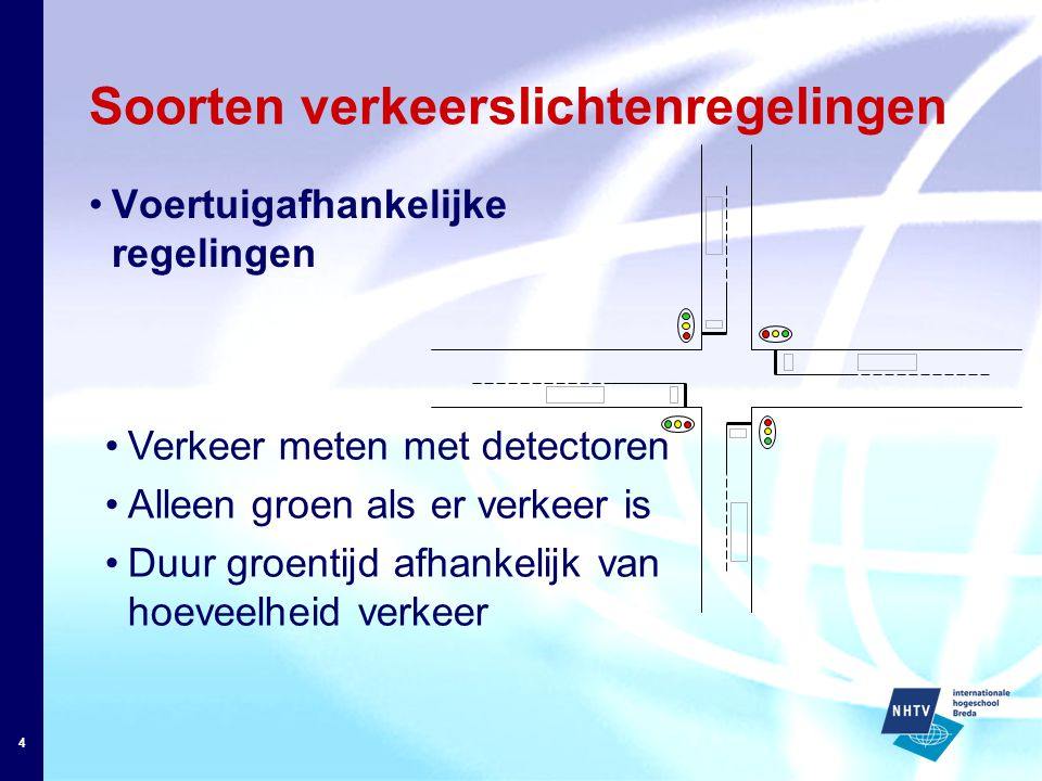 4 Soorten verkeerslichtenregelingen Voertuigafhankelijke regelingen Verkeer meten met detectoren Alleen groen als er verkeer is Duur groentijd afhankelijk van hoeveelheid verkeer