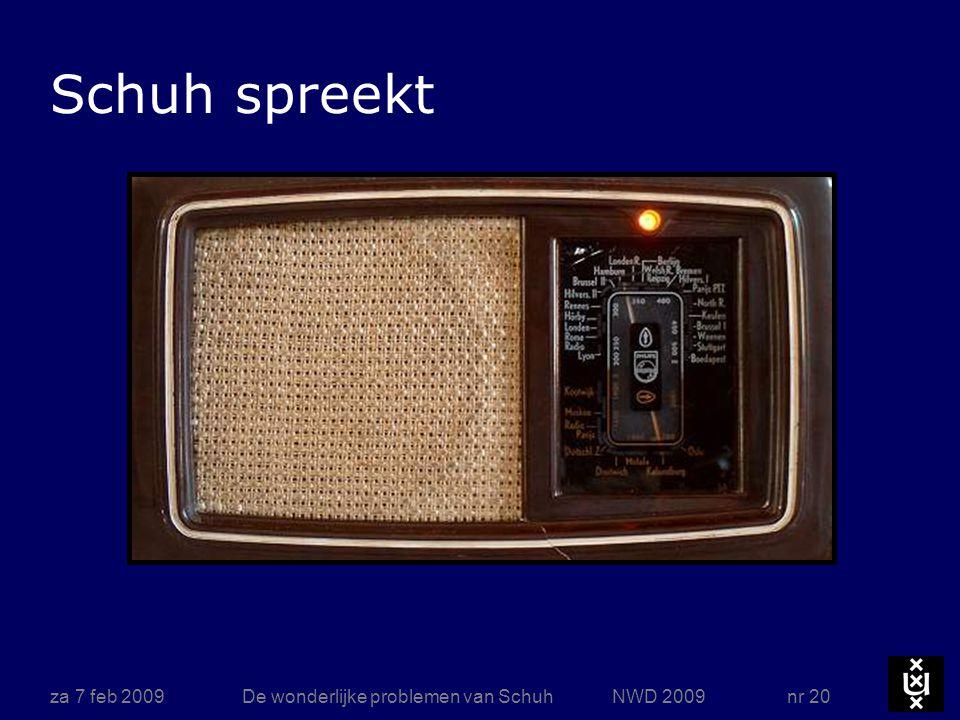 za 7 feb 2009De wonderlijke problemen van Schuh NWD 2009 nr 20 Schuh spreekt
