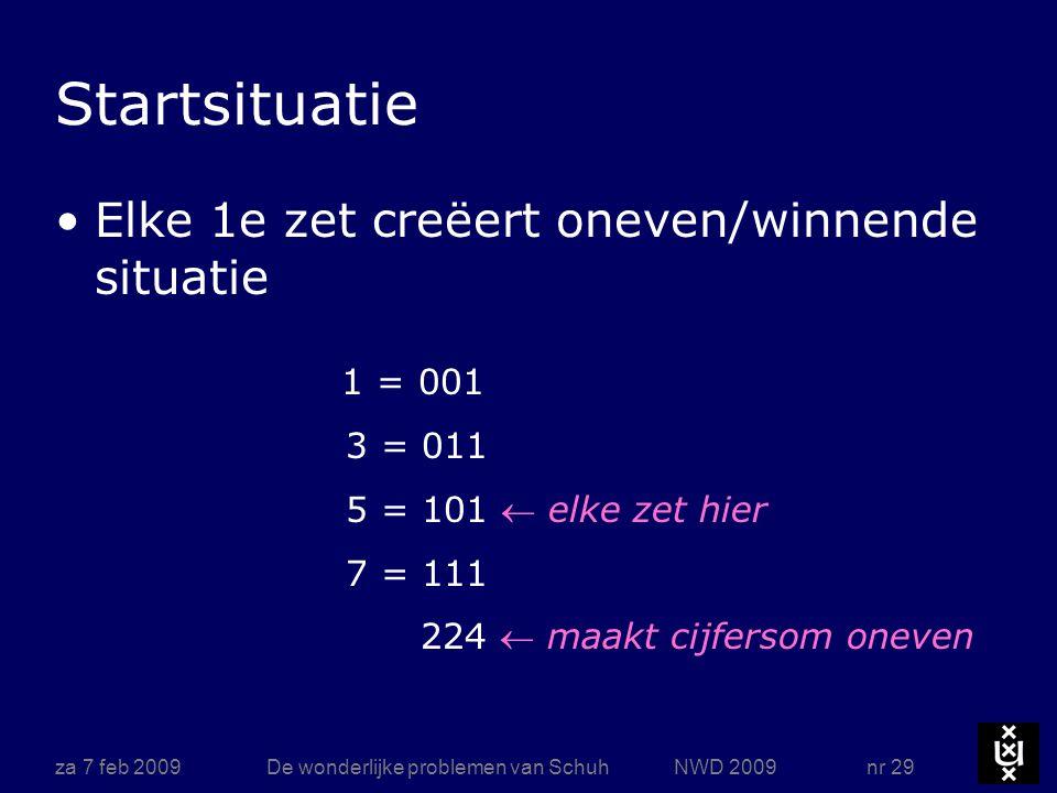 za 7 feb 2009De wonderlijke problemen van Schuh NWD 2009 nr 29 1 = 001 3 = 011 5 = 101  elke zet hier 7 = 111 224  maakt cijfersom oneven Startsitua