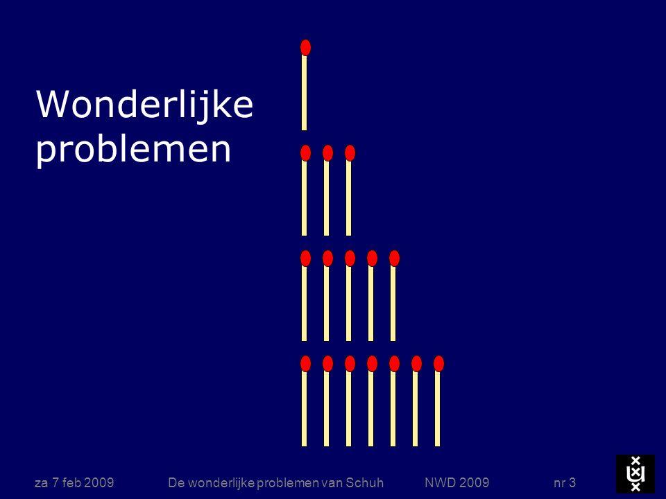 za 7 feb 2009De wonderlijke problemen van Schuh NWD 2009 nr 24 Winnende strategie Bij dit soort spelen heeft een van beide spelers (A of B) een winnende strategie want deterministisch, eindig en geen remise Een situatie heet winnend als de speler die aan zet is, wint hij verder goed speelt Op een winnende situatie zijn alleen maar verliezende zetten mogelijk Op een verliezende situatie is steeds minstens één winnend antwoord Methode: backtracking vanuit de boom van alle spelsituaties