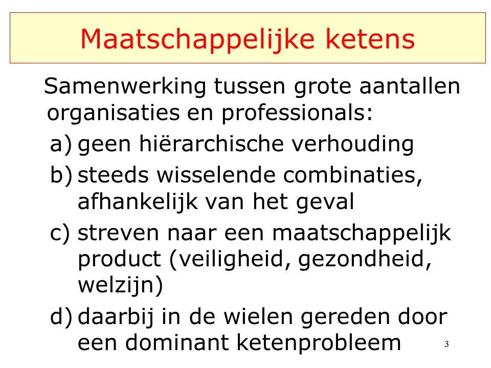 Maatschappelijke ketens Samenwerking tussen grote aantallen organisaties en professionals: a)geen hiërarchische verhouding b)steeds wisselende combinaties, afhankelijk van het geval c)streven naar een maatschappelijk product (veiligheid, gezondheid, welzijn) d)daarbij in de wielen gereden door een dominant ketenprobleem 33