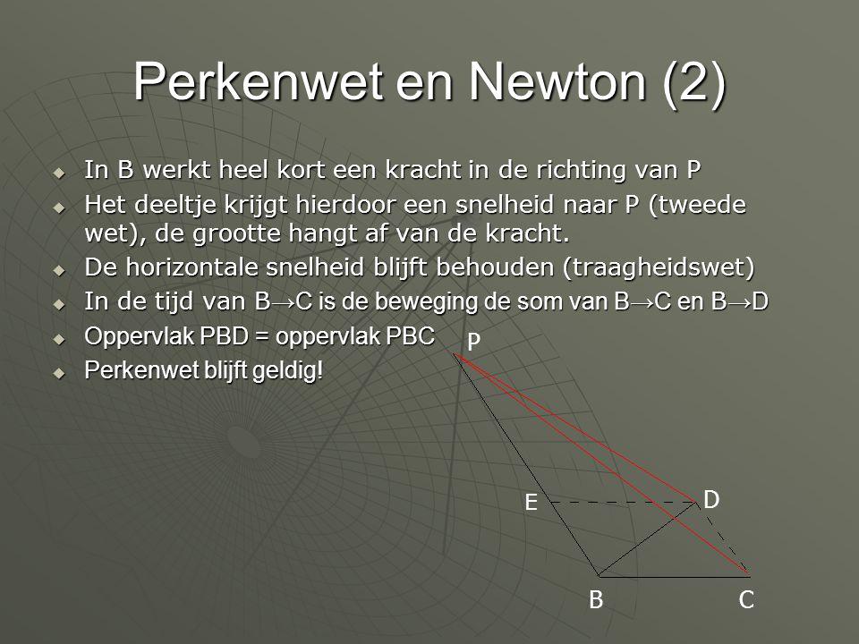 Perkenwet en Newton (2)  In B werkt heel kort een kracht in de richting van P  Het deeltje krijgt hierdoor een snelheid naar P (tweede wet), de groo