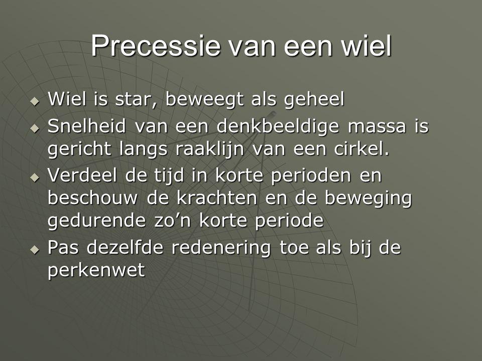 Precessie van een wiel  Wiel is star, beweegt als geheel  Snelheid van een denkbeeldige massa is gericht langs raaklijn van een cirkel.  Verdeel de