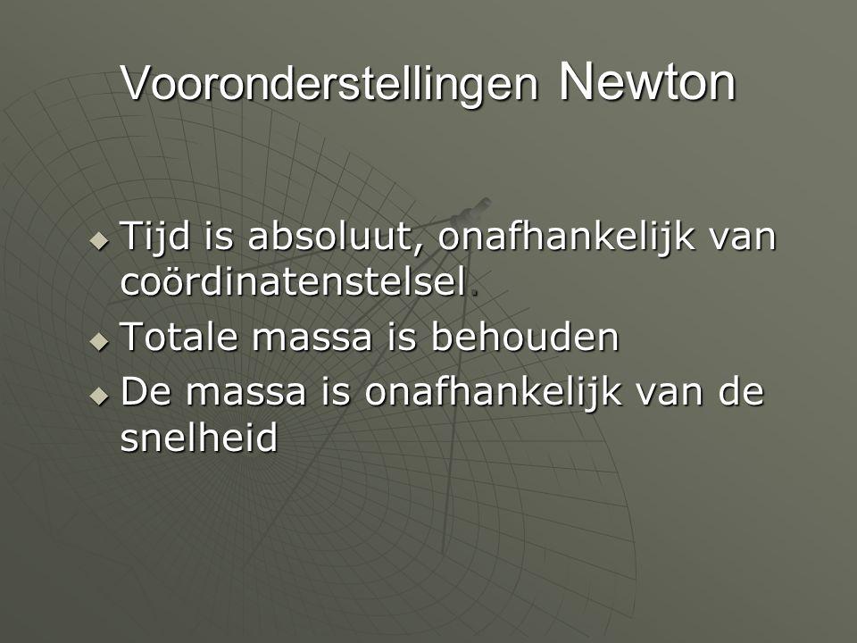 Vooronderstellingen Newton  Tijd is absoluut, onafhankelijk van co ö rdinatenstelsel.  Totale massa is behouden  De massa is onafhankelijk van de s