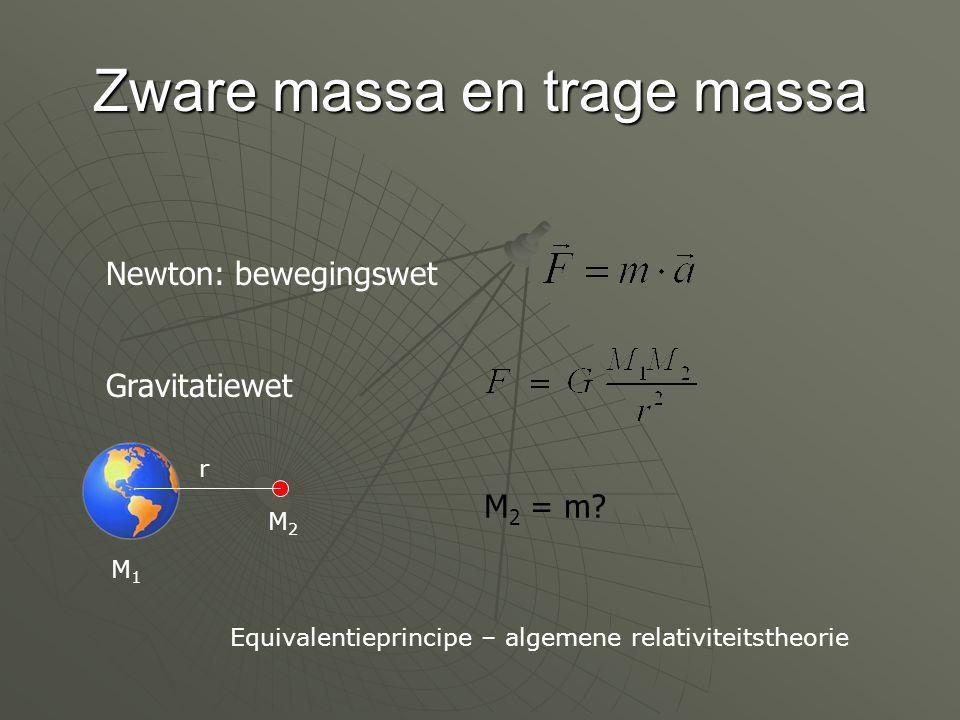 Zware massa en trage massa Newton: bewegingswet Gravitatiewet r M1M1 M2M2 M 2 = m? Equivalentieprincipe – algemene relativiteitstheorie