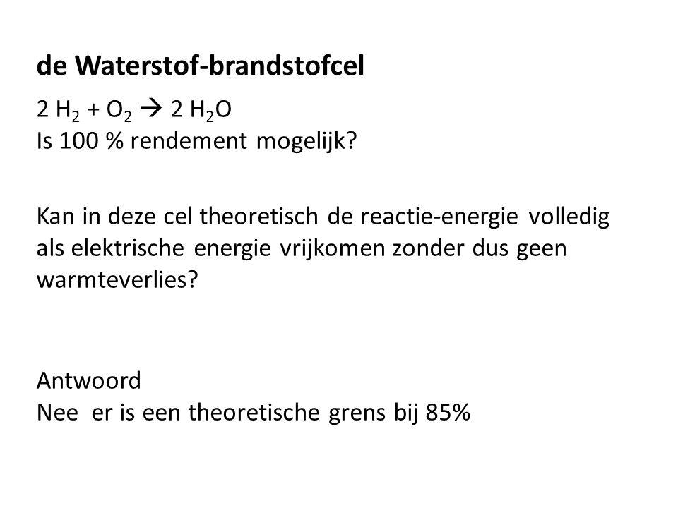 de Waterstof-brandstofcel 2 H 2 + O 2  2 H 2 O Is 100 % rendement mogelijk? Kan in deze cel theoretisch de reactie-energie volledig als elektrische e