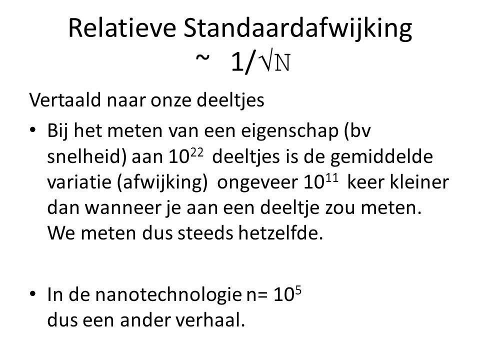 Relatieve Standaardafwijking ~ 1/ √N Vertaald naar onze deeltjes Bij het meten van een eigenschap (bv snelheid) aan 10 22 deeltjes is de gemiddelde variatie (afwijking) ongeveer 10 11 keer kleiner dan wanneer je aan een deeltje zou meten.