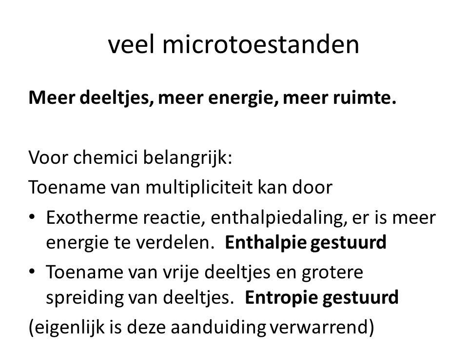 Meer deeltjes, meer energie, meer ruimte. Voor chemici belangrijk: Toename van multipliciteit kan door Exotherme reactie, enthalpiedaling, er is meer