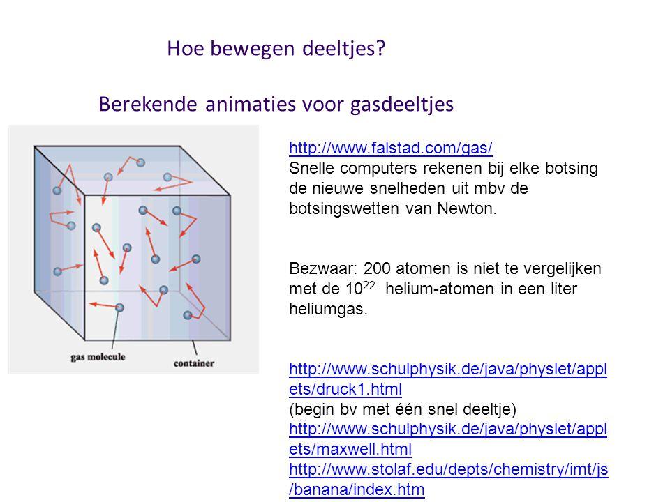 Hoe bewegen deeltjes? Berekende animaties voor gasdeeltjes http://www.falstad.com/gas/ Snelle computers rekenen bij elke botsing de nieuwe snelheden u