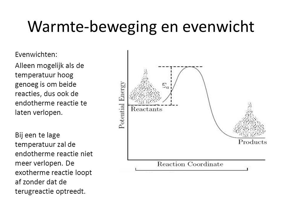 Warmte-beweging en evenwicht Evenwichten: Alleen mogelijk als de temperatuur hoog genoeg is om beide reacties, dus ook de endotherme reactie te laten verlopen.