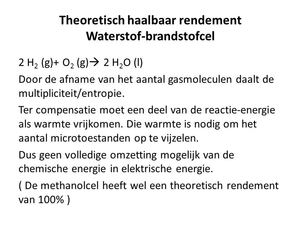 Theoretisch haalbaar rendement Waterstof-brandstofcel 2 H 2 (g)+ O 2 (g)  2 H 2 O (l) Door de afname van het aantal gasmoleculen daalt de multipliciteit/entropie.