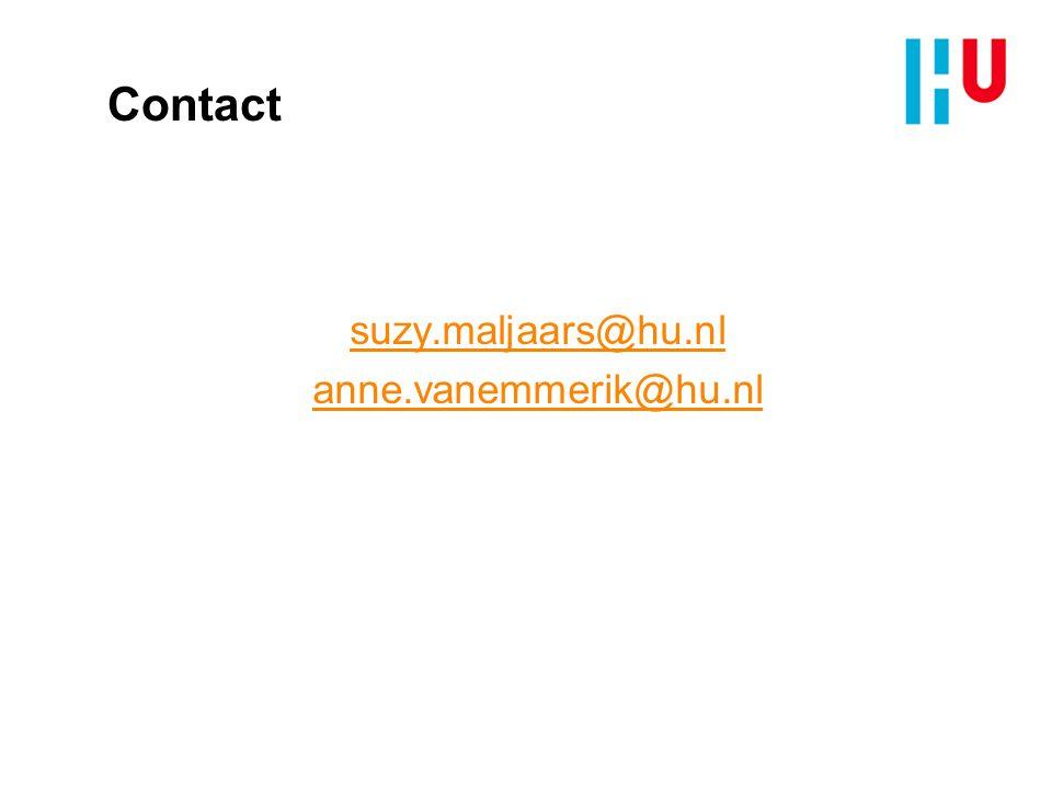 Contact suzy.maljaars@hu.nl anne.vanemmerik@hu.nl
