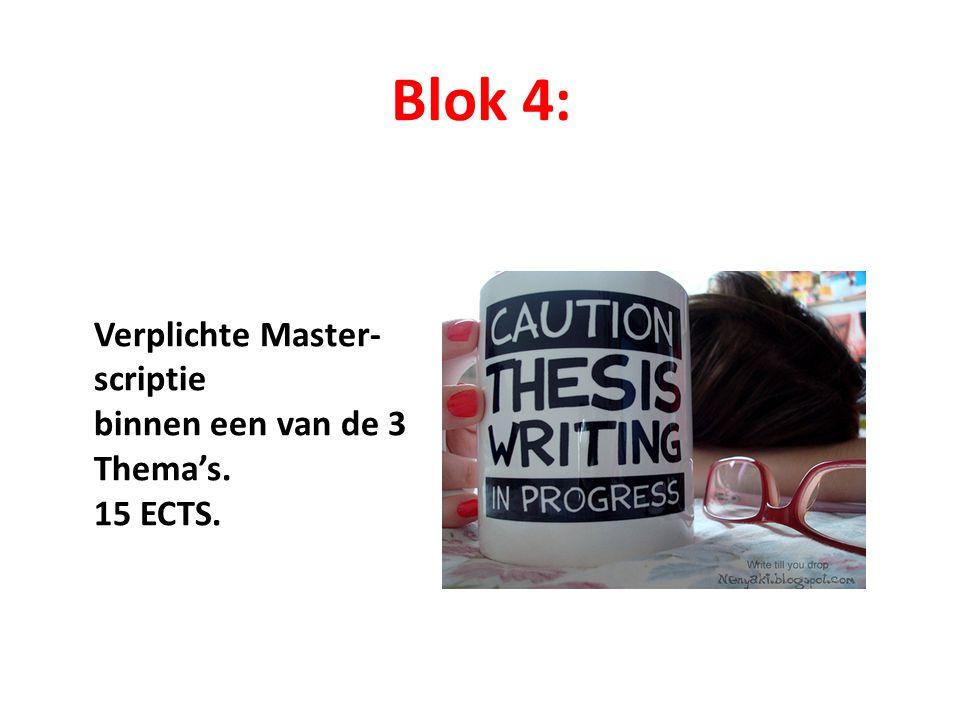 Blok 4: Verplichte Master- scriptie binnen een van de 3 Thema's. 15 ECTS.