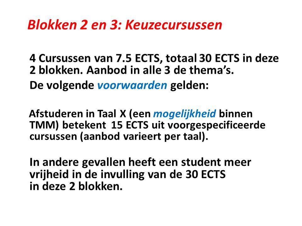 Blokken 2 en 3: Keuzecursussen 4 Cursussen van 7.5 ECTS, totaal 30 ECTS in deze 2 blokken.