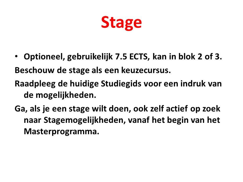 Stage Optioneel, gebruikelijk 7.5 ECTS, kan in blok 2 of 3.