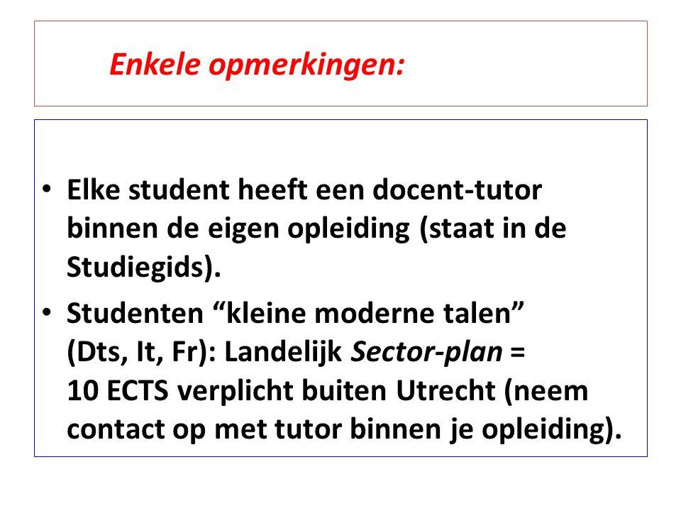 Enkele opmerkingen: Elke student heeft een docent-tutor binnen de eigen opleiding (staat in de Studiegids).