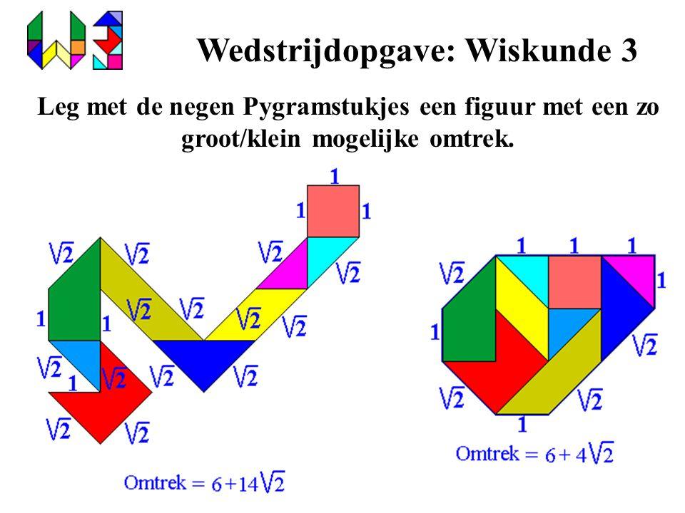 Wedstrijdopgave: Wiskunde 3 Leg met de negen Pygramstukjes een figuur met een zo groot/klein mogelijke omtrek.