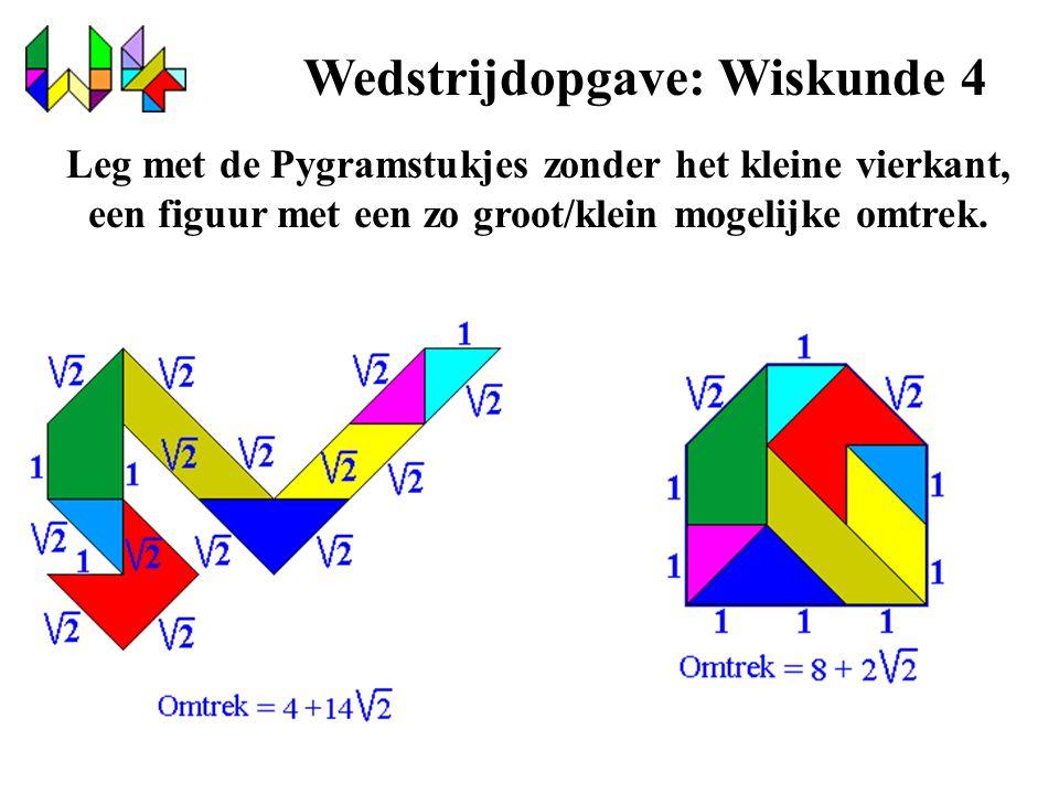 Wedstrijdopgave: Wiskunde 4 Leg met de Pygramstukjes zonder het kleine vierkant, een figuur met een zo groot/klein mogelijke omtrek.