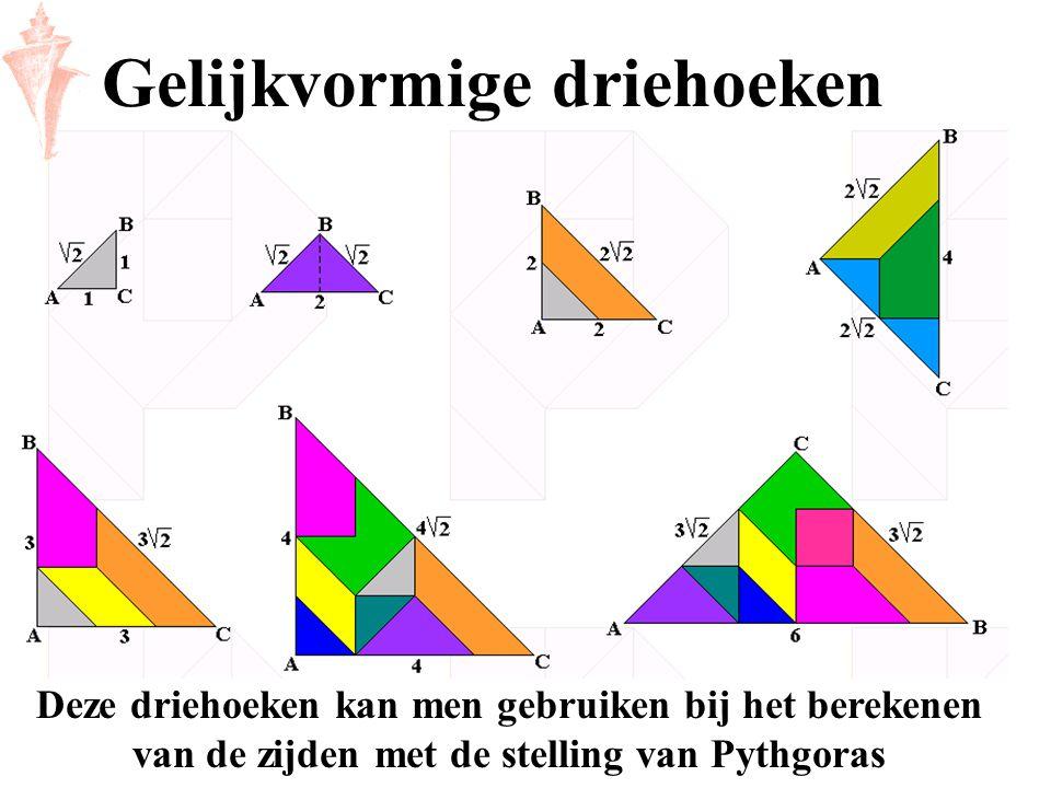 Gelijkvormige driehoeken Deze driehoeken kan men gebruiken bij het berekenen van de zijden met de stelling van Pythgoras