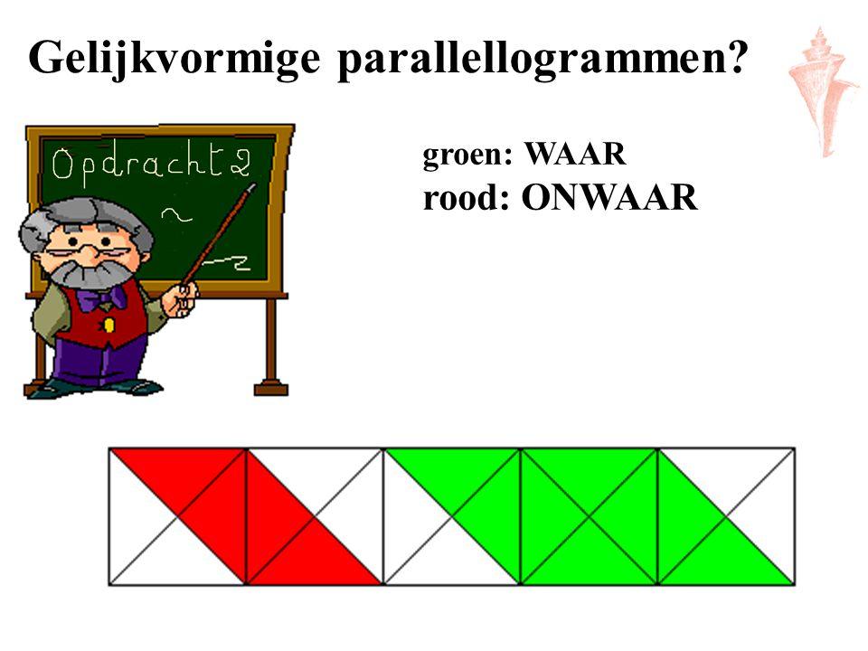 Gelijkvormige parallellogrammen? groen: WAAR rood: ONWAAR