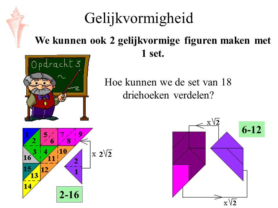 Gelijkvormigheid We kunnen ook 2 gelijkvormige figuren maken met 1 set. Hoe kunnen we de set van 18 driehoeken verdelen? 2-16 6-12