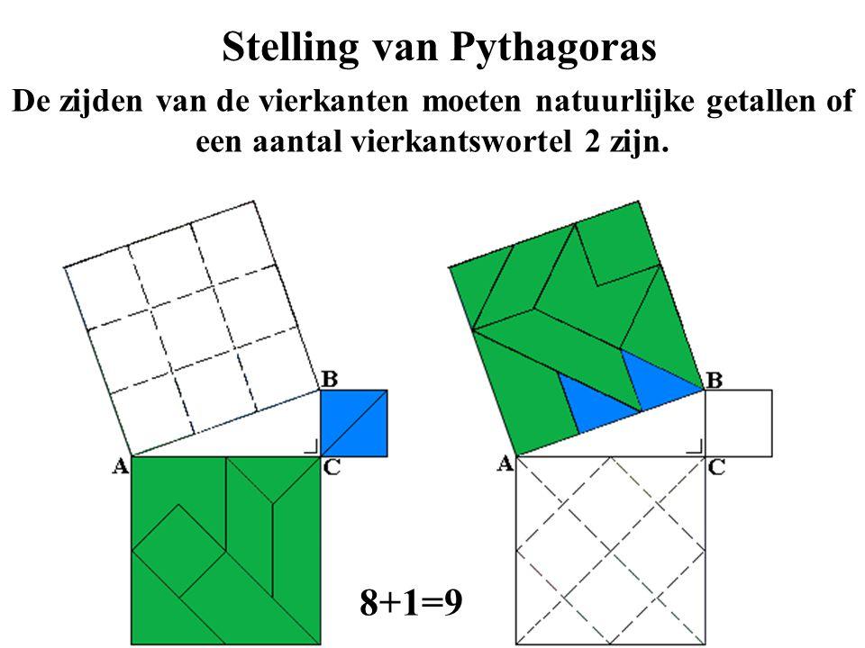 Stelling van Pythagoras De zijden van de vierkanten moeten natuurlijke getallen of een aantal vierkantswortel 2 zijn. 8+1=9