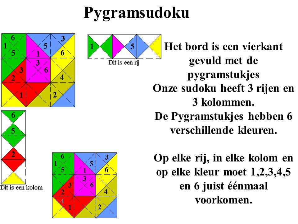 Pygramsudoku Het bord is een vierkant gevuld met de pygramstukjes Onze sudoku heeft 3 rijen en 3 kolommen. De Pygramstukjes hebben 6 verschillende kle