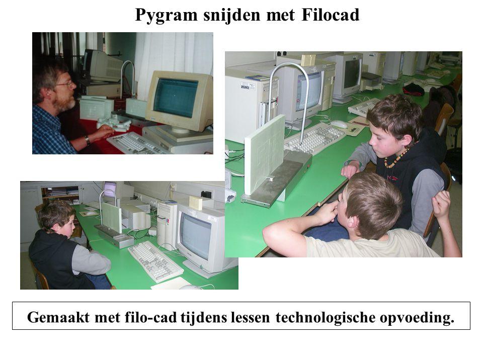 Gemaakt met filo-cad tijdens lessen technologische opvoeding. Pygram snijden met Filocad