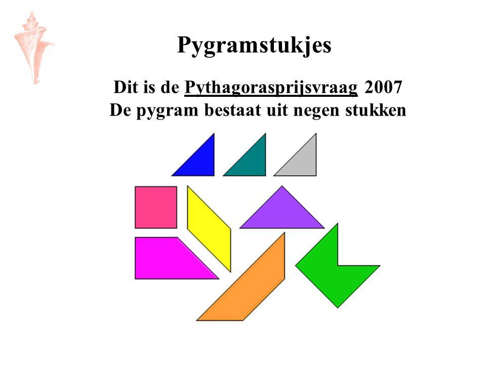 Dit is de Pythagorasprijsvraag 2007 De pygram bestaat uit negen stukkenPythagorasprijsvraag Pygramstukjes