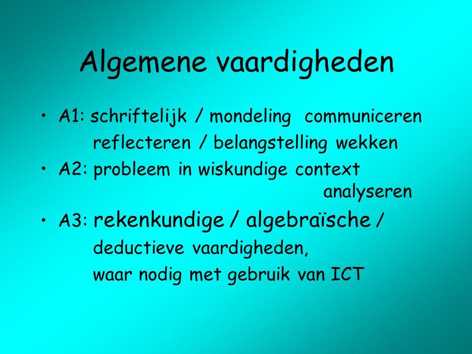 Algemene vaardigheden A1: schriftelijk / mondeling communiceren reflecteren / belangstelling wekken A2: probleem in wiskundige context analyseren A3:
