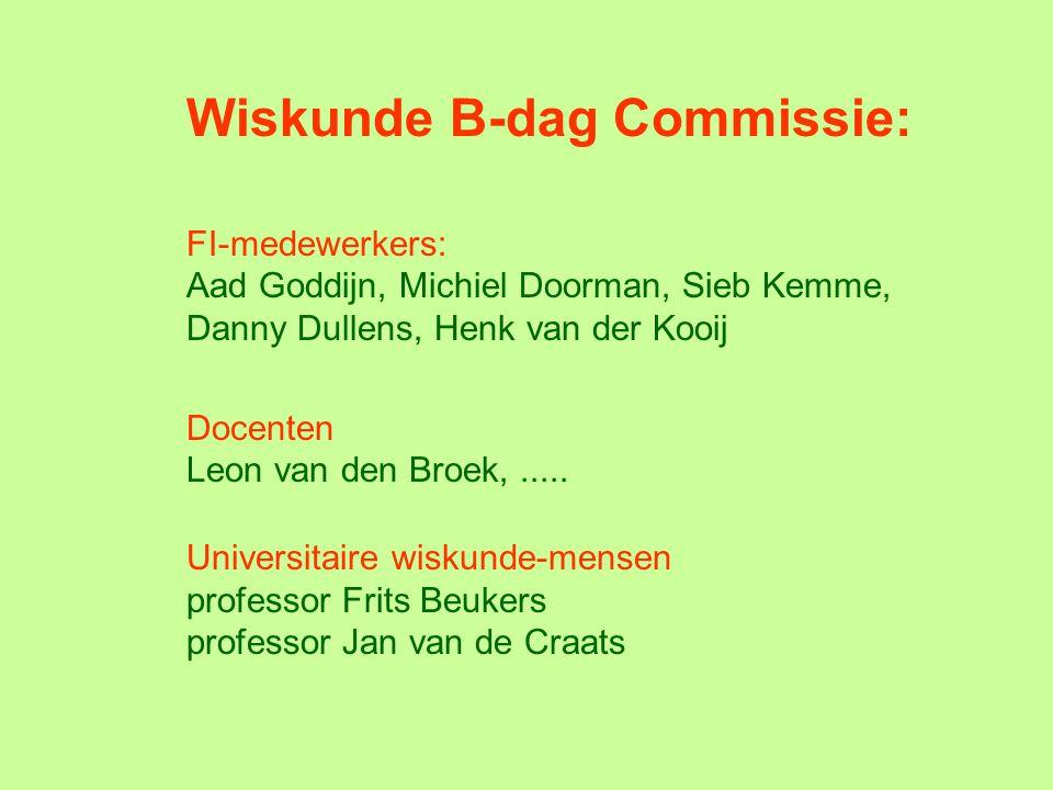 Wiskunde B-dag Commissie: FI-medewerkers: Aad Goddijn, Michiel Doorman, Sieb Kemme, Danny Dullens, Henk van der Kooij Docenten Leon van den Broek,.....