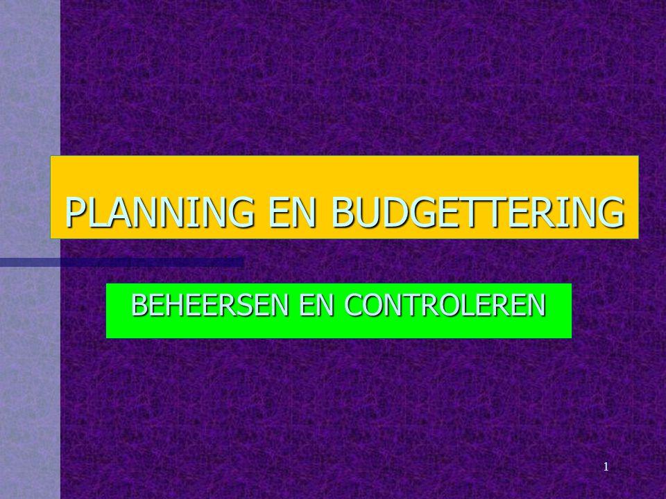 1 PLANNING EN BUDGETTERING BEHEERSEN EN CONTROLEREN
