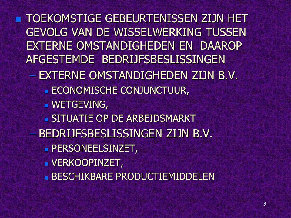 4 n BUDGET IS EEN OFFICIEEL GOEDGKEURDE PLANNING VAN ACTIVITEITEN –GRONDSLAG VAN ALLE BUDGETTEN IS HET MASTERBUDGET, OF BASISBUDGET n EERSTE STAP IS DEFINIEREN VAN ONDERNEMINGS- DOELEN OP LANGE TERMIJN, MAAKT DEEL UIT VAN –STRATEGIE: PRODUCTEN EN MARKTEN –BASISBUDGET WORDT VERDER UITGESPLITST IN DEELBUDGETTEN NAAR AFDELINGEN, NAAR PRODUCTEN EN NAAR TERMIJNEN: –JAARBUDGET, KWARTAALBUDGET, MAAND- BUDGET TOT DAGBUDGETTERING TOE