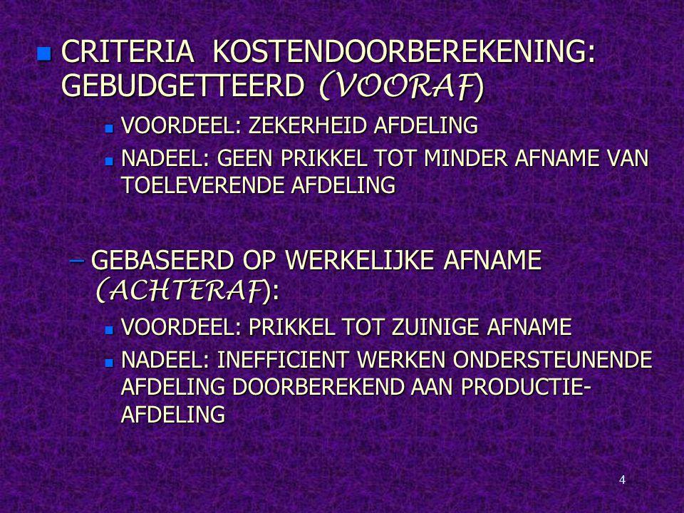 4 CRITERIA KOSTENDOORBEREKENING: GEBUDGETTEERD (VOORAF ) CRITERIA KOSTENDOORBEREKENING: GEBUDGETTEERD (VOORAF ) n VOORDEEL: ZEKERHEID AFDELING n NADEEL: GEEN PRIKKEL TOT MINDER AFNAME VAN TOELEVERENDE AFDELING –GEBASEERD OP WERKELIJKE AFNAME (ACHTERAF ): n VOORDEEL: PRIKKEL TOT ZUINIGE AFNAME n NADEEL: INEFFICIENT WERKEN ONDERSTEUNENDE AFDELING DOORBEREKEND AAN PRODUCTIE- AFDELING