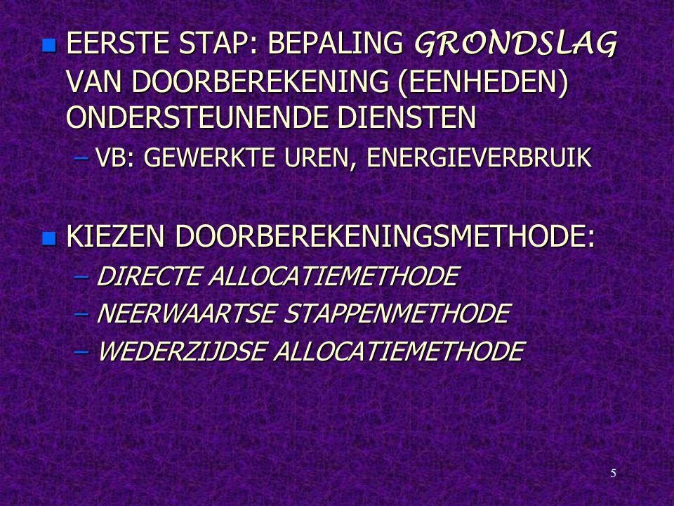 5 EERSTE STAP: BEPALING GRONDSLAG VAN DOORBEREKENING (EENHEDEN) ONDERSTEUNENDE DIENSTEN EERSTE STAP: BEPALING GRONDSLAG VAN DOORBEREKENING (EENHEDEN) ONDERSTEUNENDE DIENSTEN –VB: GEWERKTE UREN, ENERGIEVERBRUIK n KIEZEN DOORBEREKENINGSMETHODE: –DIRECTE ALLOCATIEMETHODE –NEERWAARTSE STAPPENMETHODE –WEDERZIJDSE ALLOCATIEMETHODE
