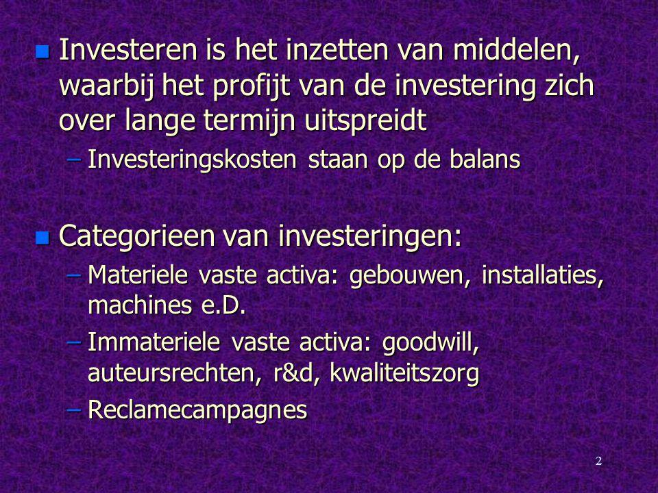 2 n Investeren is het inzetten van middelen, waarbij het profijt van de investering zich over lange termijn uitspreidt –Investeringskosten staan op de