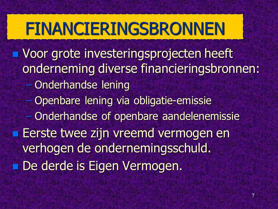7 FINANCIERINGSBRONNEN n Voor grote investeringsprojecten heeft onderneming diverse financieringsbronnen: –Onderhandse lening –Openbare lening via obl