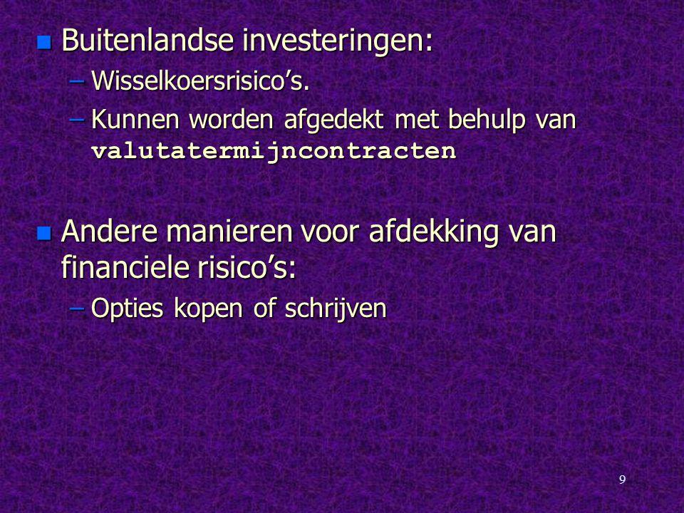 9 n Buitenlandse investeringen: –Wisselkoersrisico's. –Kunnen worden afgedekt met behulp van valutatermijncontracten n Andere manieren voor afdekking