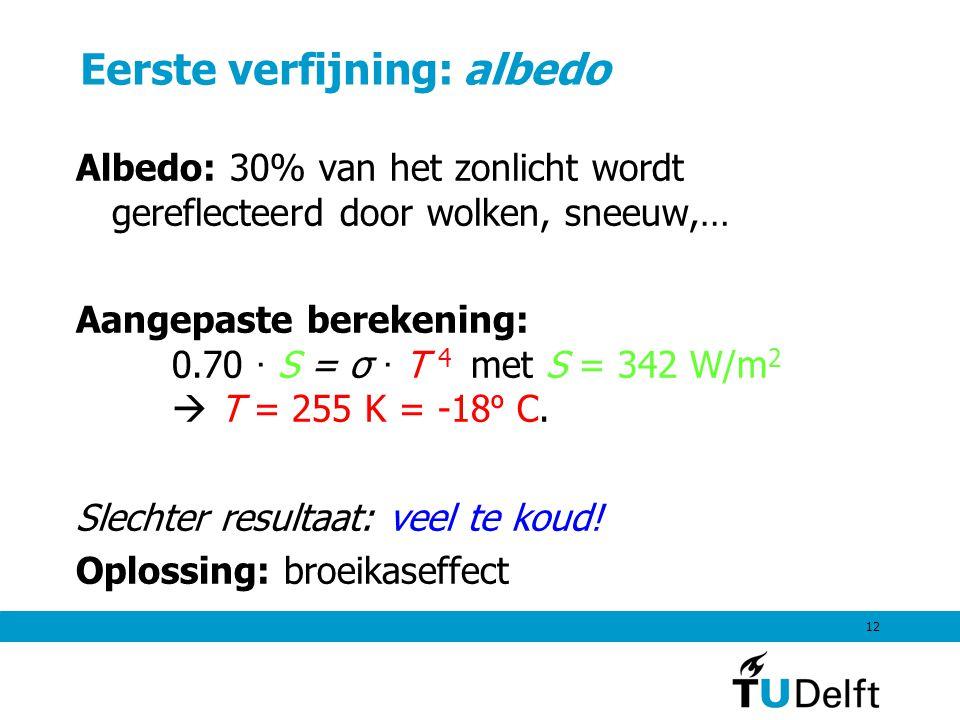 12 Eerste verfijning: albedo Albedo: 30% van het zonlicht wordt gereflecteerd door wolken, sneeuw,… Aangepaste berekening: 0.70 · S = σ · T 4 met S =