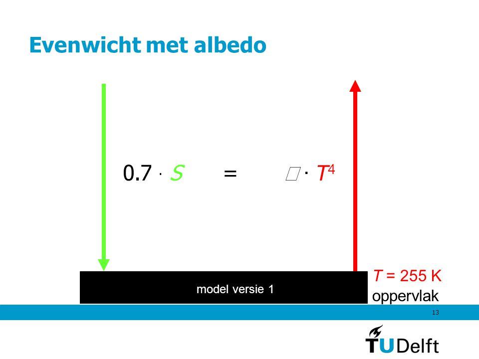 13 Evenwicht met albedo oppervlak T = 255 K model versie 1 0.7 · S =  · T 4